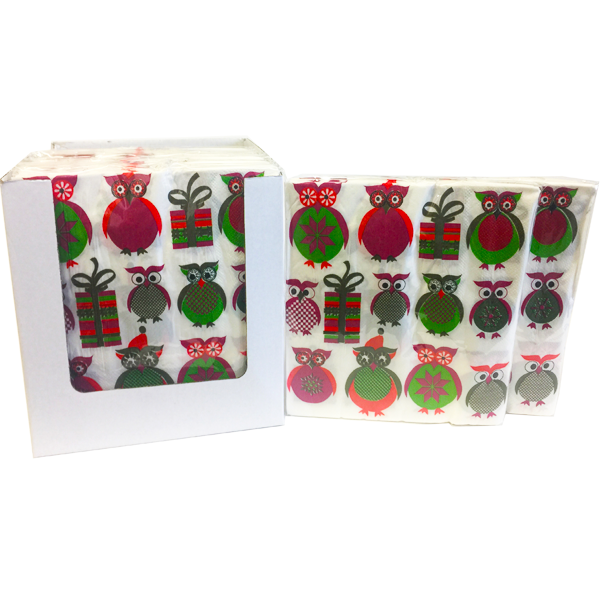"""Christmas Owl"" Decorative Printed Disposable Table Napkin - Pack Includes 20 Sheets"