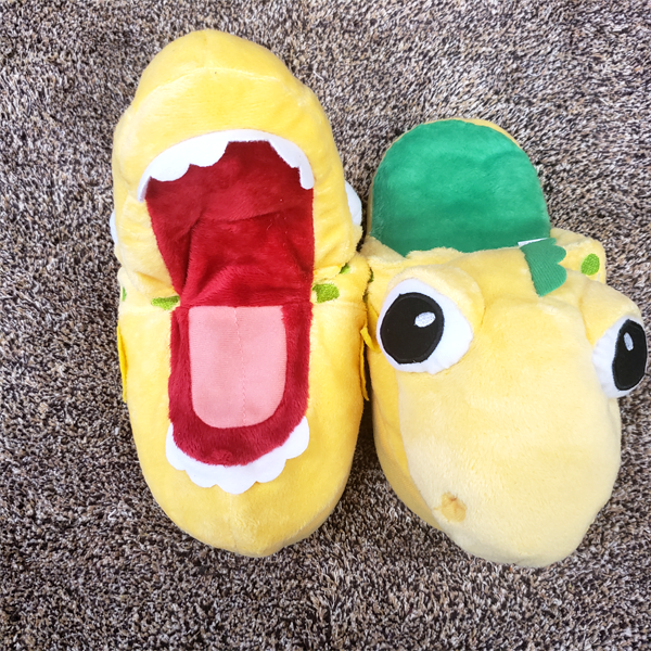 Kids Fluffy Baby Dino Slippers