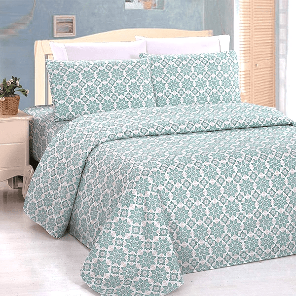 Silky Plush Bamboo Bed Sheet Set - Geometrical Pattern In Green