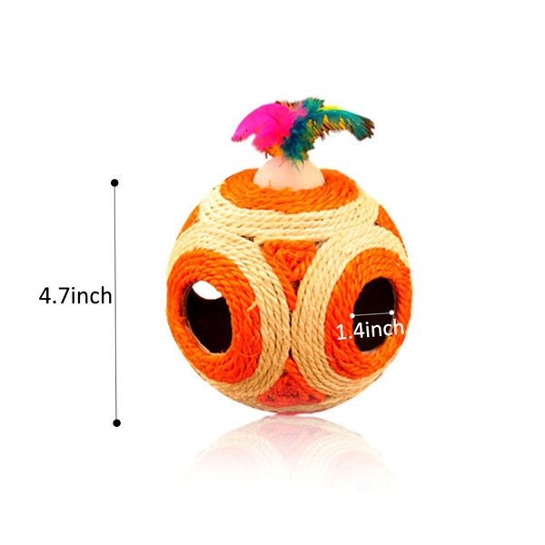 2 Pack: Cat Toy Feather Sisal Scratcher Rattle Balls