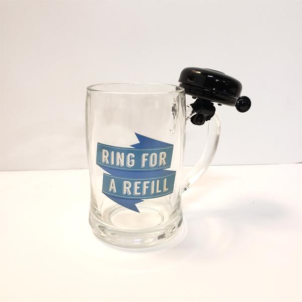 """Ring For A Refill"" Beer Mug With Ringing Bell"
