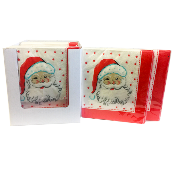"""Santa"" Decorative Printed Disposable Table Napkin - Pack Includes 20 Sheets"