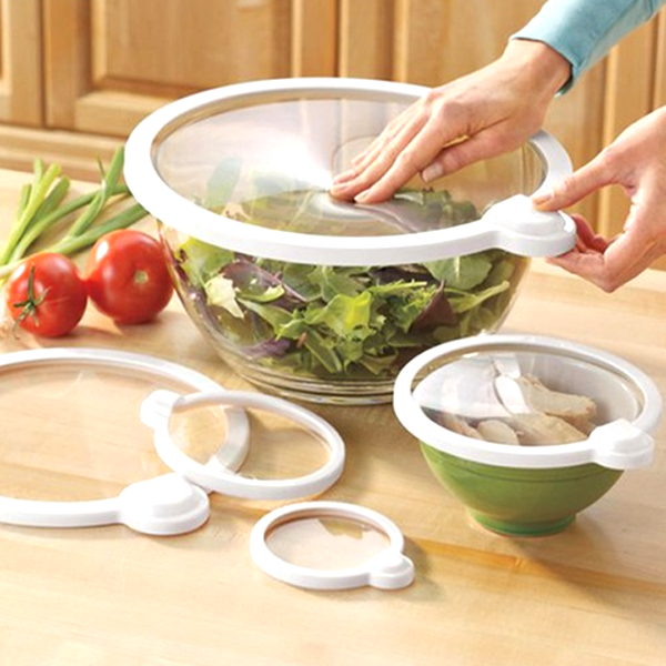 4 Piece Set: Universal Fit Vacuum Seal Container Lids