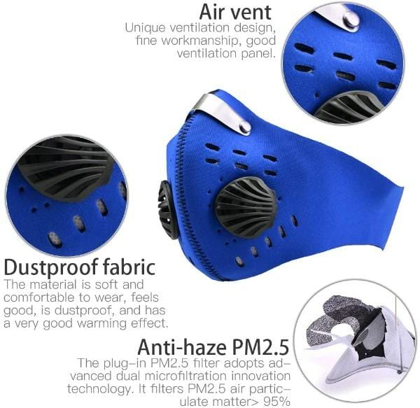 Activated Carbon Sport Dust Mask with Exhalation Valves
