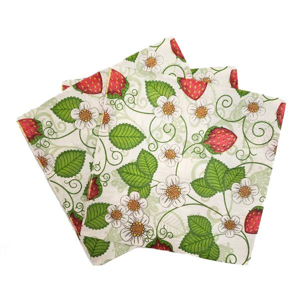 """Budding Strawberry"" Printed Disposable Table Napkin - Pack Includes 20 Sheets"