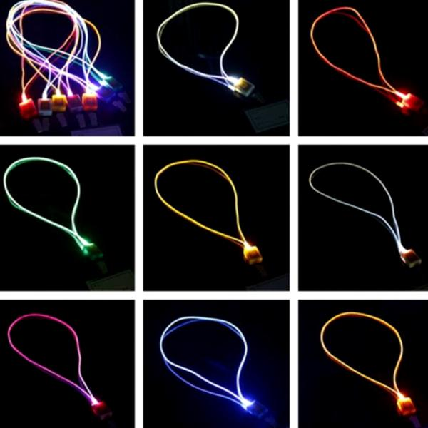 Toys - 2 Pack: Luminous LED Light-Up Fluorescent Necklace Lanyard With Trigger Clip
