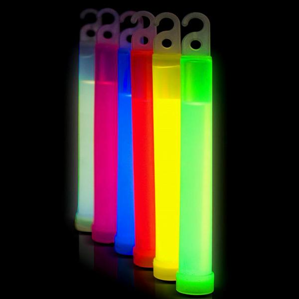 "Toys - 6"" Fluorescent Neon Glow Sticks With Ribbon Lanyard - Assorted Colors"