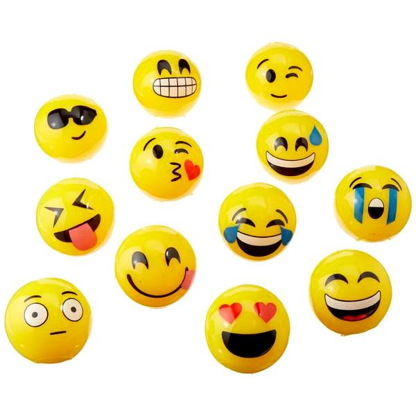 Toys - Flashing LED Emoji Rubber Ball - Assorted Styles