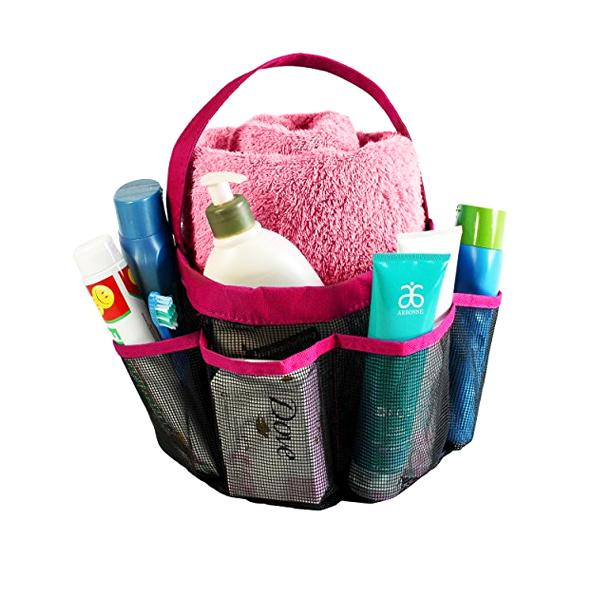Travel - 8-Pocket Portable Quick Dry Mesh Shower Caddy - Available In Blue Or Pink!