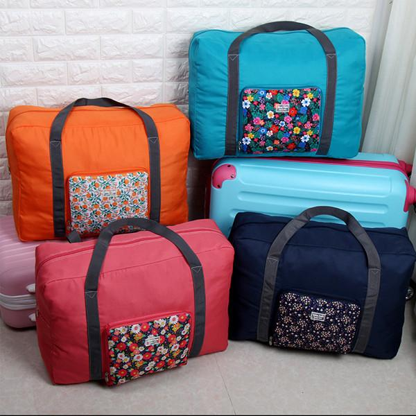 Travel - Floral Print Waterproof Expandable Folding Travel Duffle Bag - Assorted Colors