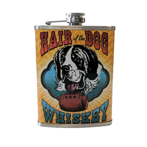 "Travel - ""Hair Of The Dog Whiskey"" Stainless Steel Drinking Flask - 8 Oz."