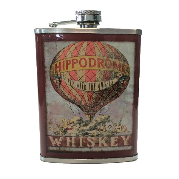 "Travel - ""Hippodrome Whiskey"" Stainless Steel Drinking Flask - 8 Oz."