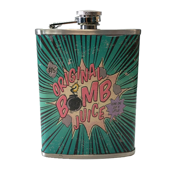 "Travel - ""Original Bomb Juice"" Stainless Steel Drinking Flask - 8 Oz."