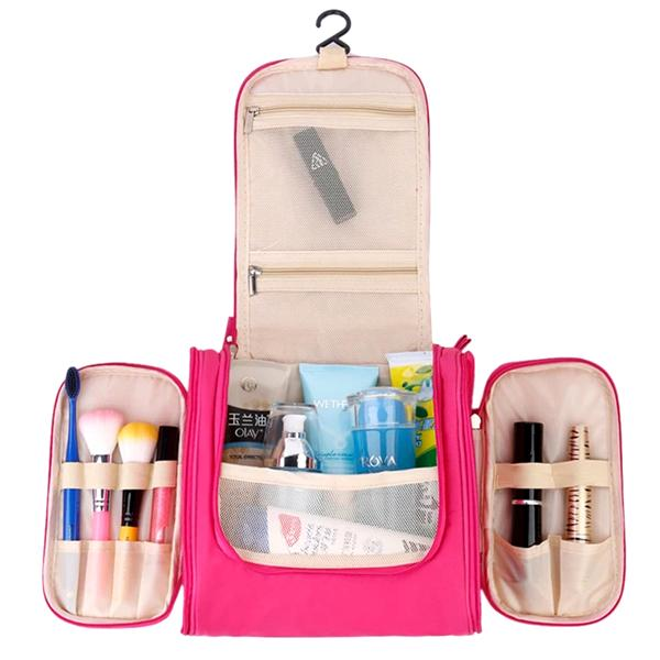 Travel - The Ultimate Toiletry & Cosmetics Travel Bag With 3-Compartments & Built-In Hanging Hook