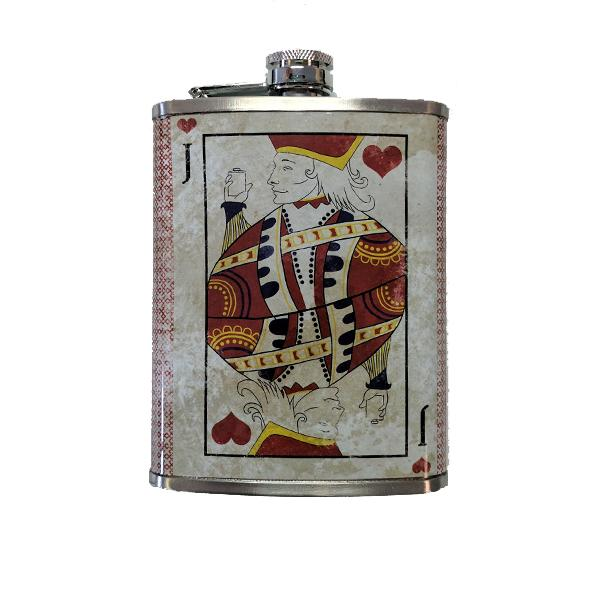 Travel - Vintage Jack Of Hearts Stainless Steel Drinking Flask - 8 Oz.
