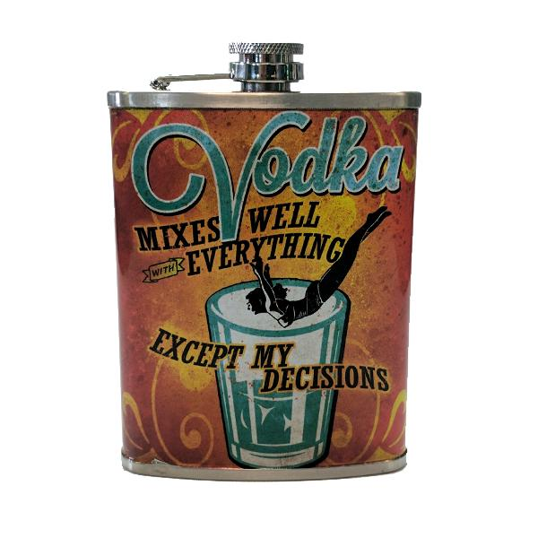 "Travel - ""Vodka Decisions"" Stainless Steel Drinking Flask - 8 Oz."