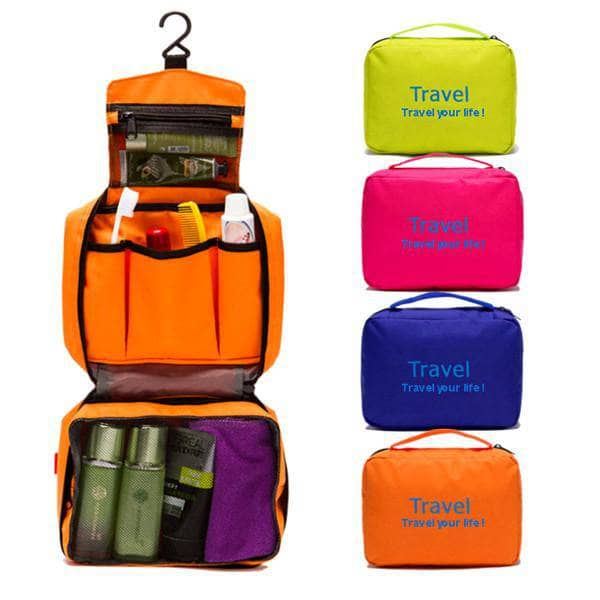 Travel - Zippered 6-Pocket Hanging Toiletry Bag - Assorted Colors