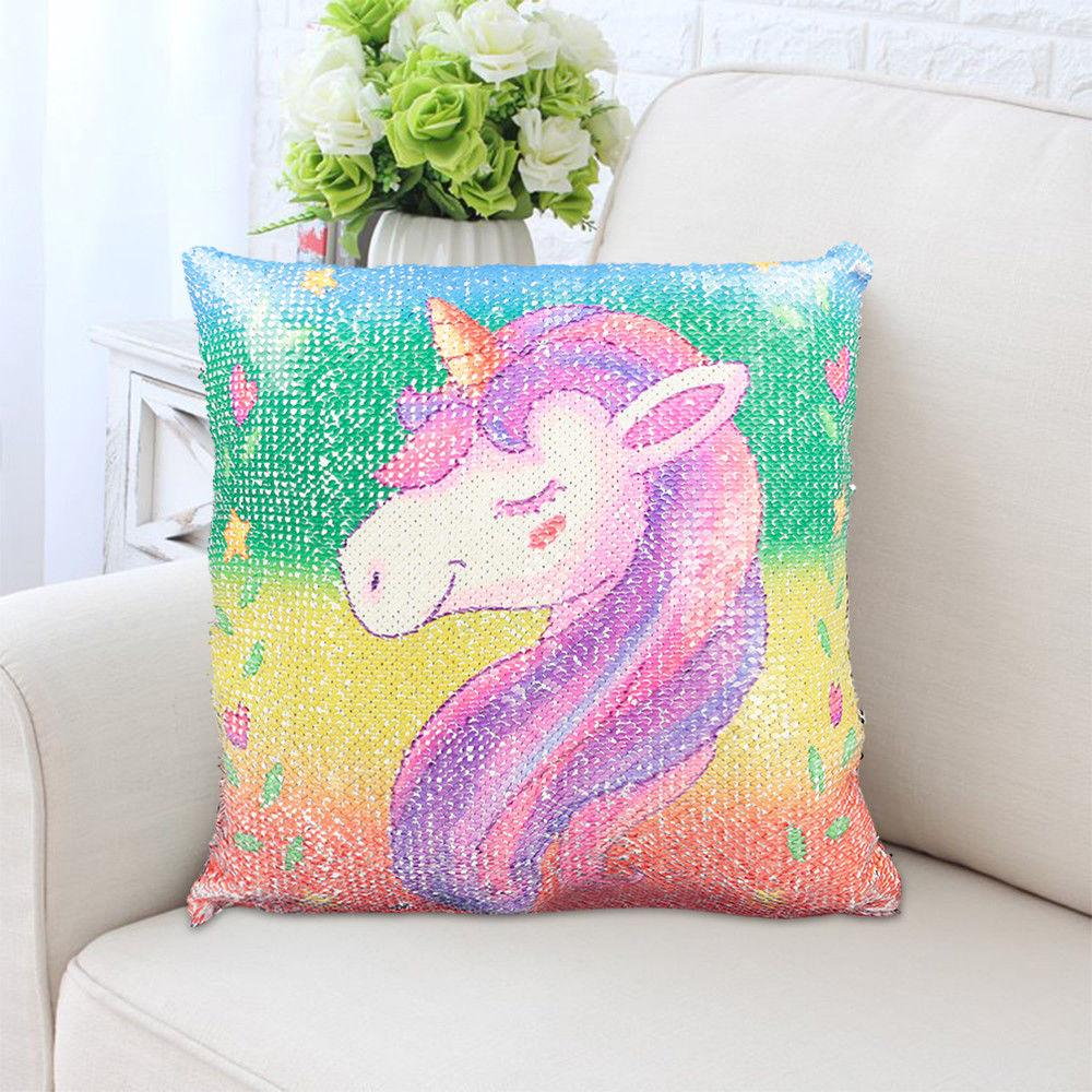 2 Pack: Unicorn Sequin Reversible Throw Pillows - 6 Styles Available!