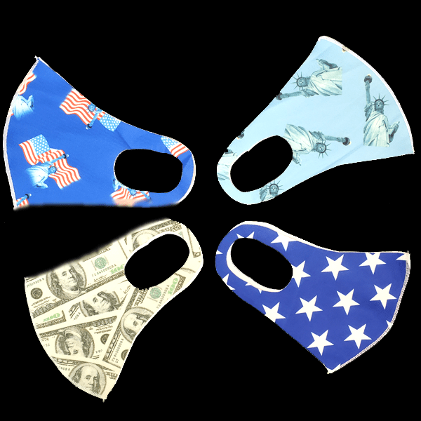 4 Pack: USA Print Washable Dust Proof Fashion Masks