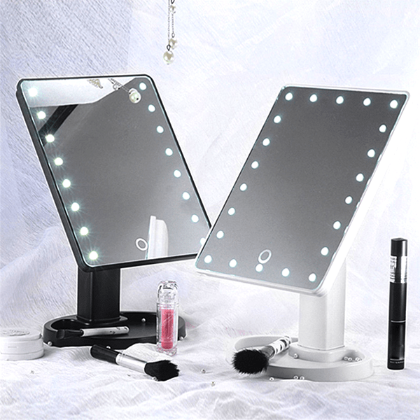 Ultra Clear 16-LED Rotating Vanity Mirror With Adjustable Viewing Angle and Tray - Assorted Colours