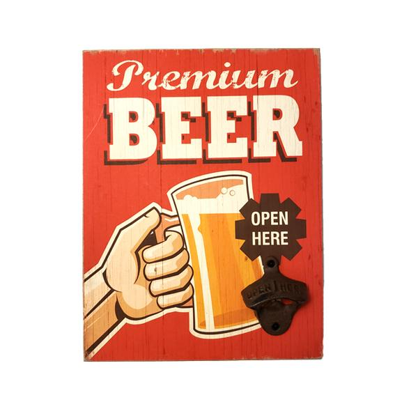 Mountable Vintage Collectible Wooden Wall Decor Sign & Bottle Opener