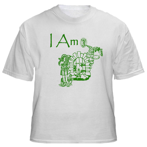 I Am (White T Shirt with Green Image)