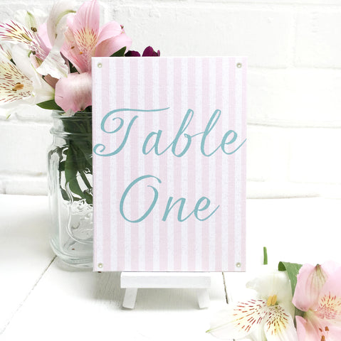 Blush Pink Wedding Table Name or Number Card
