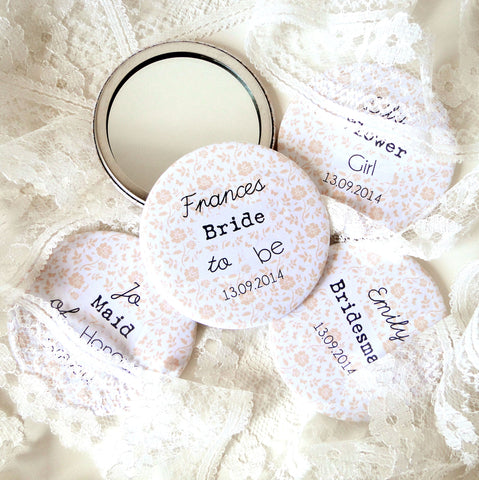 Personalised Floral Bridal Or Hen Party Mirrors