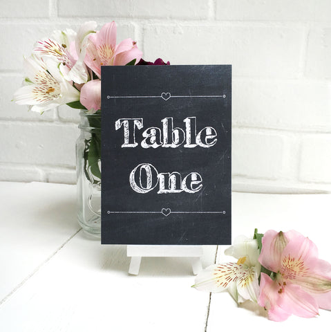 Chalk Wedding Table Name or Number Card