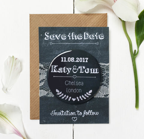 Chalk Wedding Save the Date Magnet