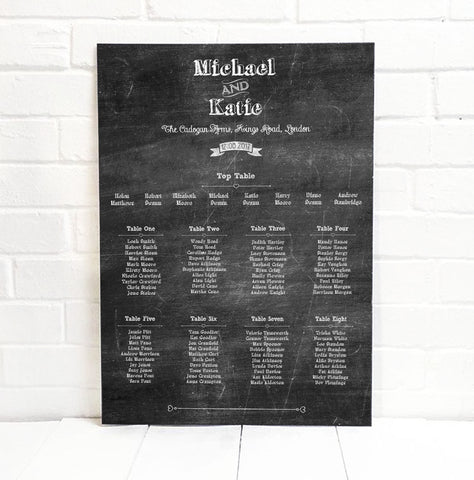 Chalk Wedding Seating Table Plan