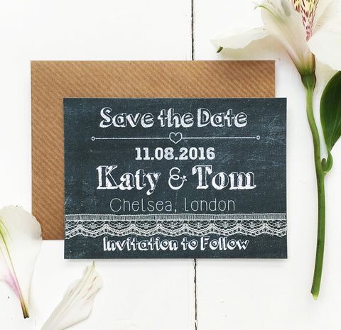 Chalk Wedding Save the Date Card
