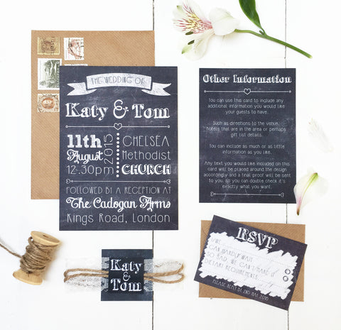 Chalk and Lace Wedding Invitation Set