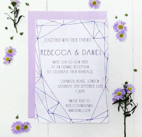 Lilac Crystal Watercolour Evening Wedding Reception Invitation
