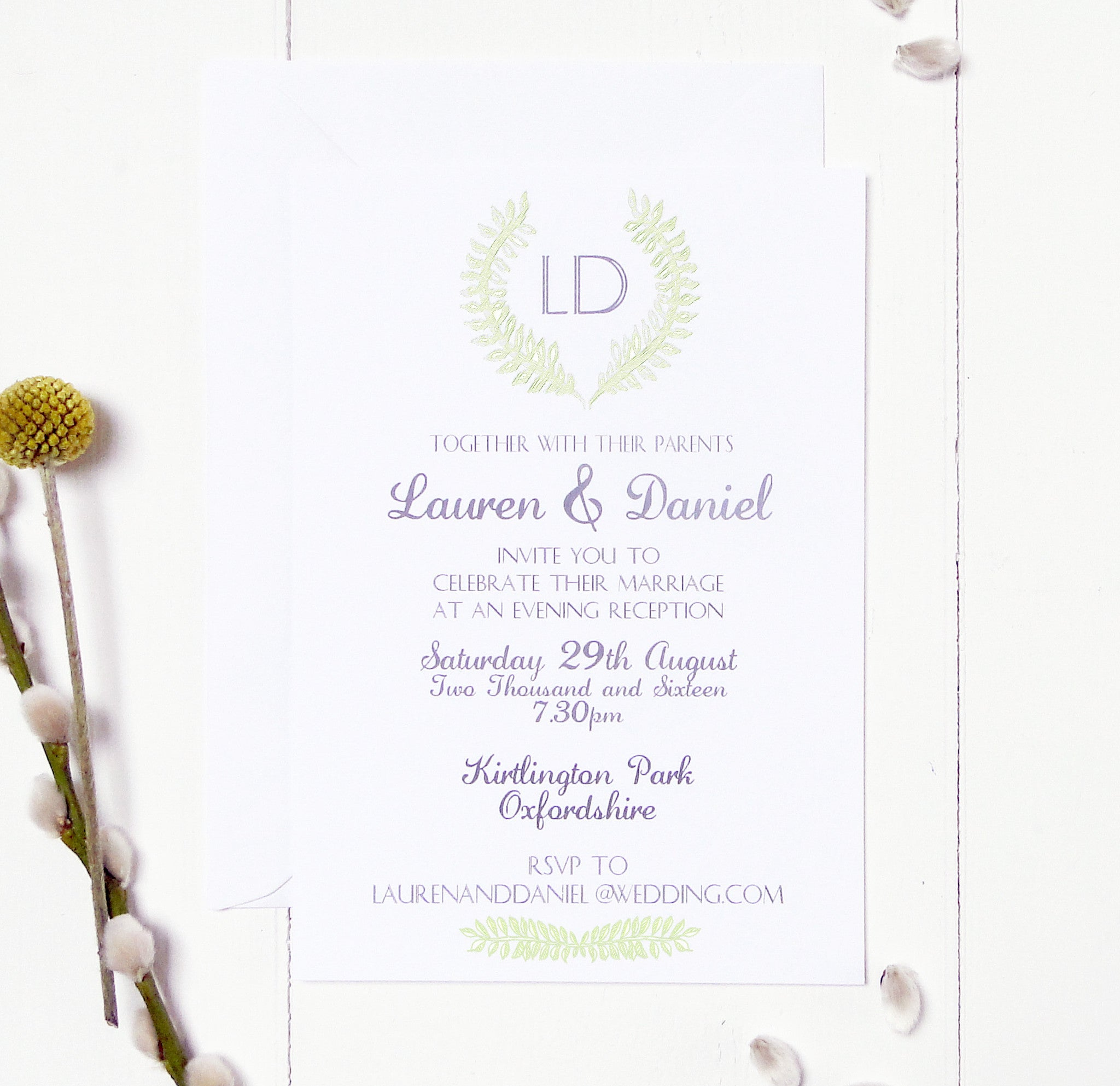 Grecian Pastels Evening Wedding Reception Invitation by Peardrop Avenue