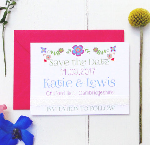 Floral Embroidery Wedding Save the Date Card