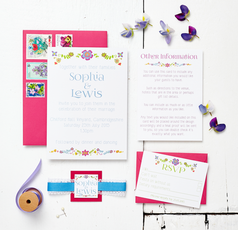 Floral Embroidery Wedding Invitation Set