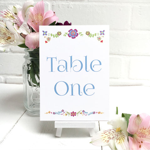 Floral Embroidery Wedding Table Name or Number Card