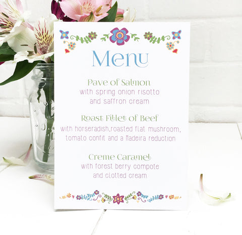 Floral Embroidery Wedding Breakfast Menu