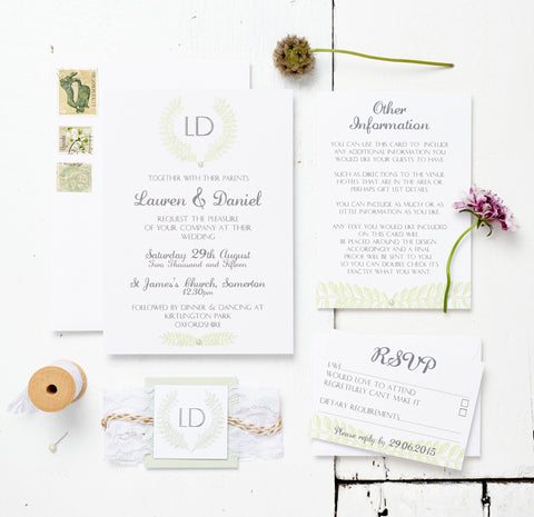 Bespoke Grecian Pastels Wedding Invitation Set - Lou Whitebread