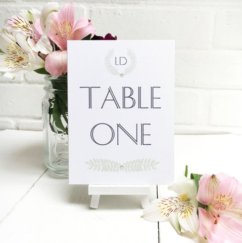 Grecian Pastels Wedding Table Name or Number Card