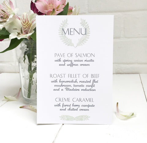 Grecian Pastels Wedding Breakfast Menu