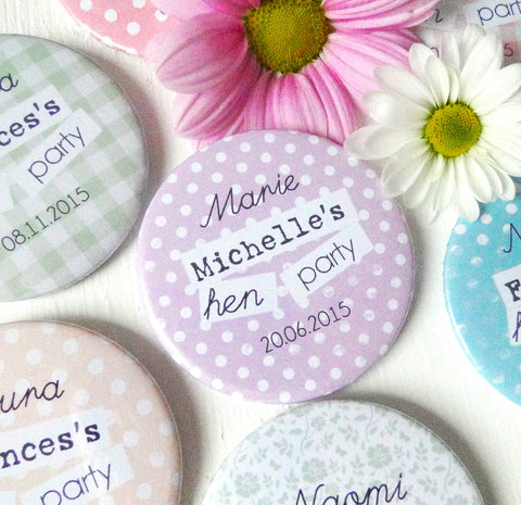 Personalised Pastel Hen Party Badges