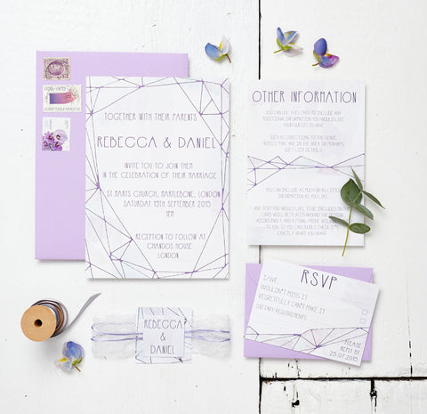Lilac Crystal Watercolour Wedding Invitation Set