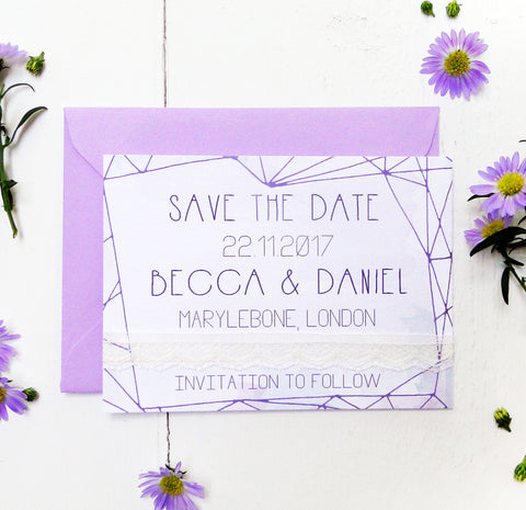 Lilac Crystal Watercolour Wedding Save the Date Card