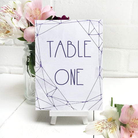 Lilac Crystal Watercolour Wedding Table Name or Number Card