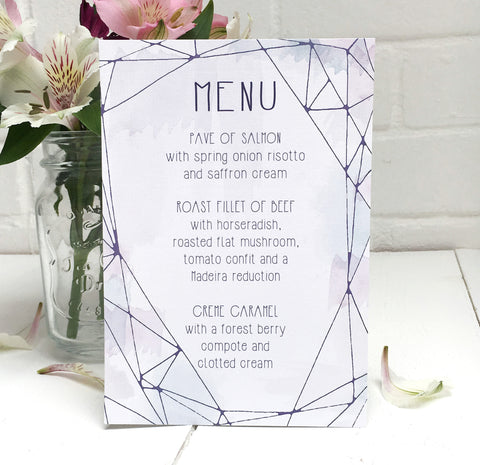 Lilac Crystal Watercolour Wedding Breakfast Menu
