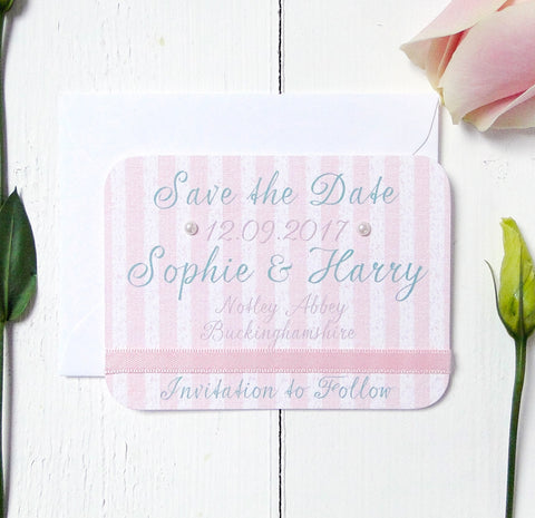 Blush Pink Wedding Save the Date Card