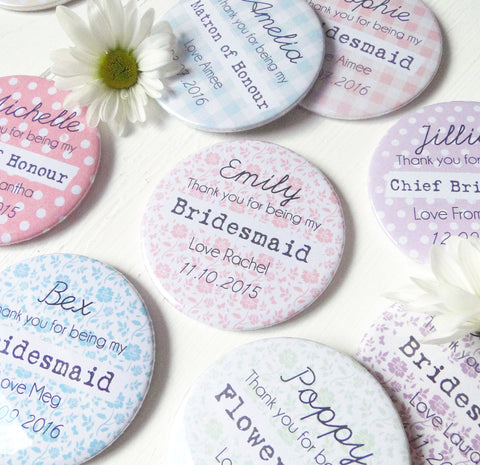 Personalised Thank You Bridesmaid Pocket Mirror Gift