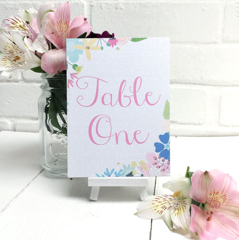 Summer Flower Wedding Table Name or Number Card